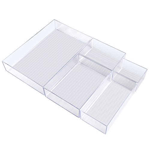 ilikable 5 Pack Home Pantry Organizer Bins Cosmetics Vanity Tray Dresser Storage Organizer Container for Bathroom Kitchen Bedroom Cabinet