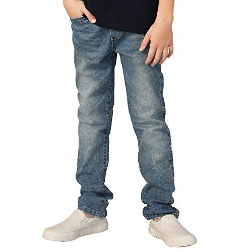Leo&Lily Boys' Kids' Elastic Waist Husky Stretch Denim Jean (Vintage Blue,12)
