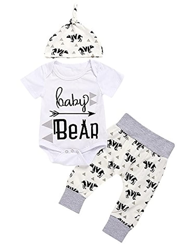 3 Piece Unisex Toddler Infant Newborn Kids Baby Bear Romper Geometry Pants Hat Outfits Clothes Sets
