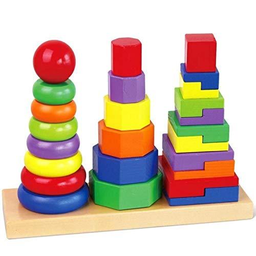 Melissa and doug - Jouet en bois Empiler les formes géométriques 3 tours 26 pièces Enfants 2 ans +