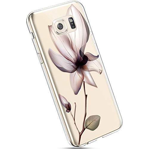Ysimee Hülle kompatibel mit Samsung Galaxy S6 Edge Plus Handyhülle, Transparent Weiche Silikon Schutzhülle Muster Blumen [Crystal Klar] TPU Bumper Dünne Stoßfeste Protective Hülle, Blumen