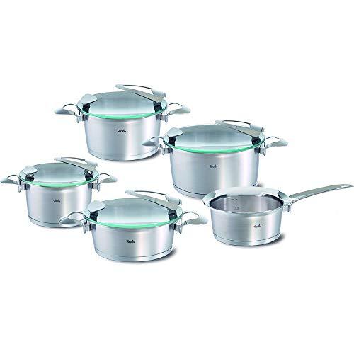 Fissler solea / Edelstahl-Topfset, 5-teilig, Induktions-Kochtopfset, Töpfe mit Glasdeckel, stapelbar, alle Herdarten auch Induktion (3 Kochtöpfe, 1 Bratentopf, 1 Stielkasserolle-deckellos)