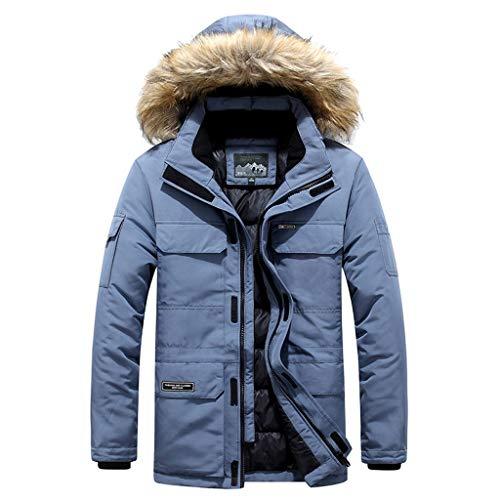 Men's Long Down Coat with Fur Hood Long Sleeve Zipper Winter Warm Outdoor Windproof Outwear Blue