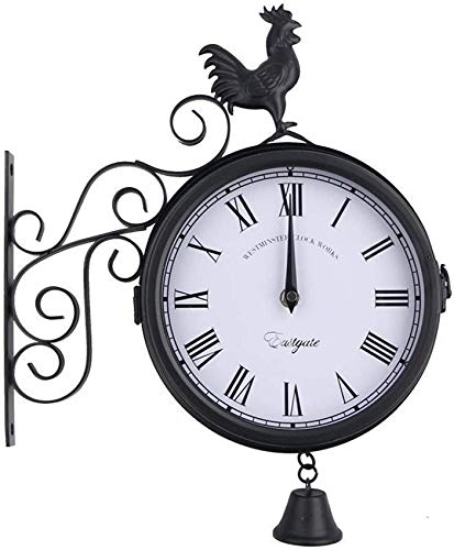 MLL Gartenuhr Outdoor Wasserdicht, 15 Zoll Eisenhahn Glockenform Doppelseitige Metall-Außenuhren für die Gartenwand Silent Clock Außenuhr Indoor Outdoor-Dekoration