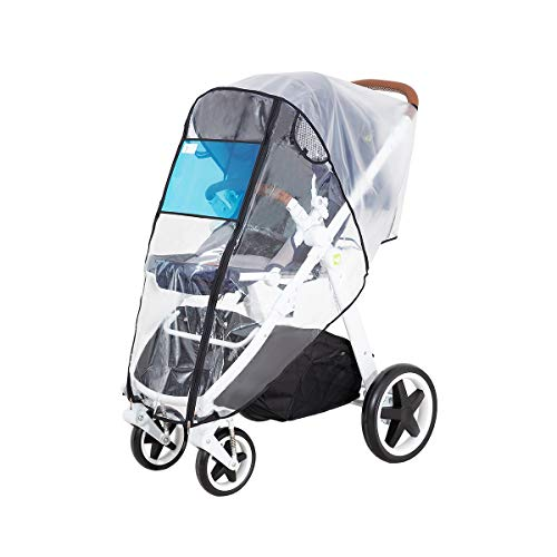 Hrzeem Stroller Rain Cover Universal Size Waterproof Windproof EVA The Weather Shield with Eye Screen(Black)