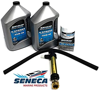 MERCRUISER V8 Quicksilver Oil Change Kit with Crankcase Oil Extractor Pump 25W40 8 Qts - 2 Gal w Oil Filter 866340Q03 GM V8 502 Mag MIE 8.2L MCM 390 482 8.1L 454 7.4L 454 Mag 325 427 7.0L