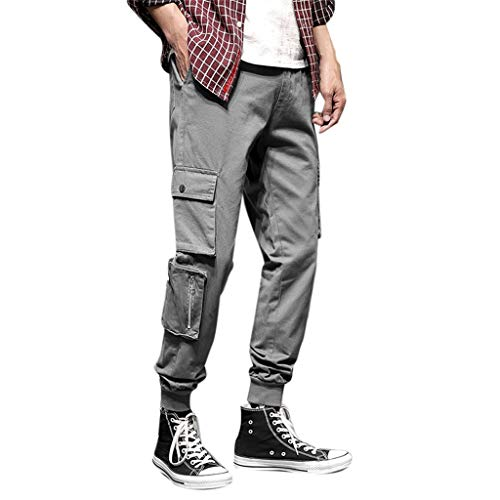 Jeans Trousers Loose Straight-Leg Relaxed-Fit Jean Washed Original Fit Work Stretch Pant Slim Fit Pocket Men (XL,7- Gray)