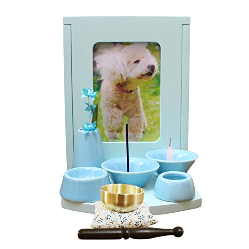 ペット仏壇 セット メモリアルBOX ボックス型 ライトグリーン 仏具8点 おりんセット 骨壷収納 木製 ミニ仏壇 (ブルー)