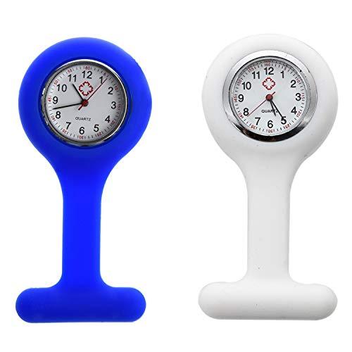 Baalaa Reloj de silicona para enfermeras (lavable, gratis) blanco y enfermeras broche de silicona de goma túnica Fob Watch