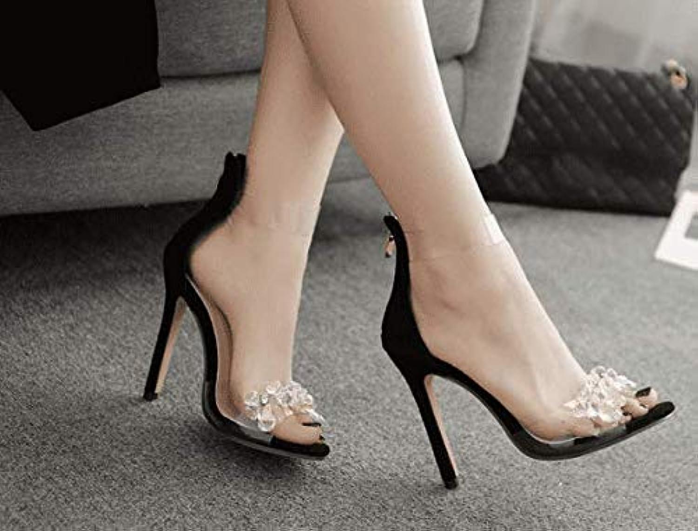 AWXJX Sommersaison Frauen Flip Flops Künstliche Diamanten Transparente Manuelle High Heel Schwarz 6 US 36 EU 3.5 UK B07GC11XWQ  Ausgezeichneter Wert