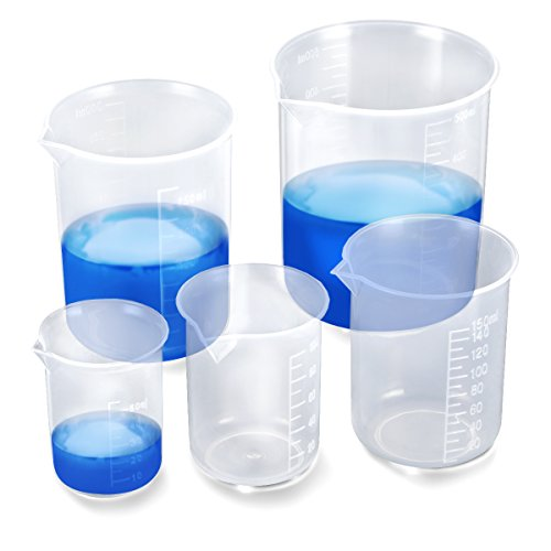 Messbecher Set Kunstoff 5 Stk. Messbecher 50ml 100ml 150ml 250ml 500ml Meßbecher aus PP Labor Messbecher mit Maßstab Mark (Transparent)