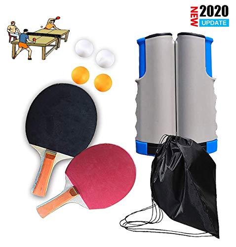 Qinsir Redes De Tenis Mesa Postes Juego Ping-Pong Todo En Uno Tenis Antimiopía con 2 Raquetas Premium 4 Pelotas 1 Red Retráctil para Principiantes