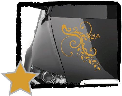 DD Dotzler Design V1 Auto-Aufkleber Klebe-Folie Blumen-Ranke Ornament Floral Motorhaube Heckscheibe tuning tribal (45 x 30 cm gold-metallic)