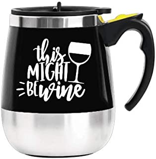Update Self Stirring Mug Auto Self Mixing Stainless Steel Cup for Coffee/Tea/Hot Chocolate/Milk Mug for Office/Kitchen/Travel/Home -450ml/15oz (Black) (This Might be a Wine)