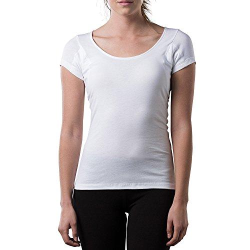 Thompson tee - Camiseta Interior antisudor para Mujer - con Refuerzo Antimicrobiano en Las Axilas - Corte Regular - Cuello Ovalado - Blanco - Large