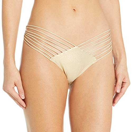 Luli Fama Women's Cosita Buena Strappy Brazilian Ruched Back Bikini Bottom, Gold Rush, L