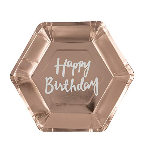 Cavore Happy Birthday Teller Rosegold – 8 Stück – Pappteller in Rosa Gold für Geburtstag Mädchen – Partygeschirr Einweg