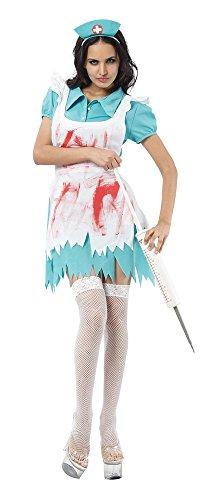 Bristol Novelty Ac958 Costume d'infirmière avec Sang, Bleu/Blanc, UK 10-14