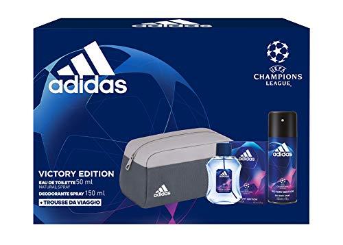 Adidas, Confezione Regalo Uomo UEFA Champions League Victory Edition, Eau de Toilette 50 ml, Deodorante Spray 150 ml, Trousse da Viaggio