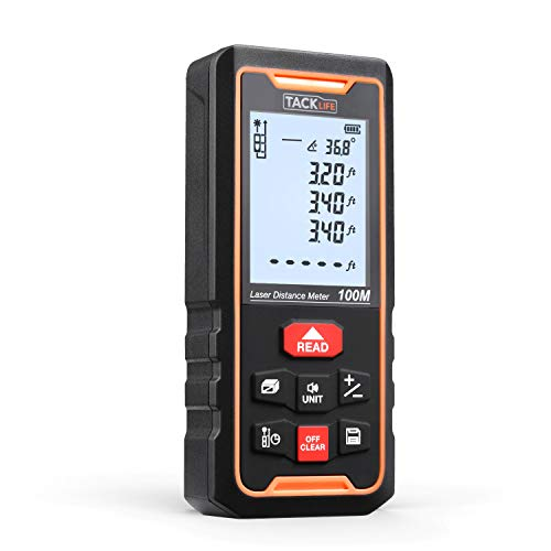 """TACKLIFE S3-100 PRO Laser Measure 328Ft Laser Distance Meter with 2.25"""" Large Backlit LCD Display, Large Laser Receive Window, Delay Measure Mode, Tripod Screw Hole-Measure Angle/Distance/Area/Volume"""
