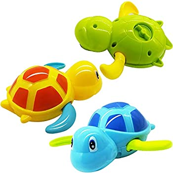 3 PCS Baby Bath Toys 3 Baby Bathtub Wind Up Turtle Toys Floating Bath Animal Toys for Kids Toddlers Child Pool Swimming Clockwork Water Toys for Boys and Girls