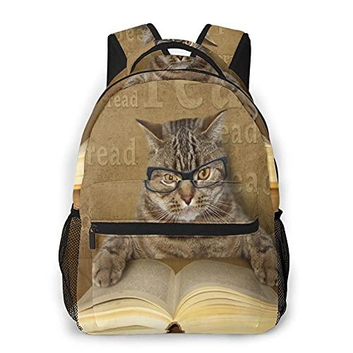 Mochilas escolares para niñas lindas gafas de gato leer libro casual bolsa de hombro Librero ligero Daypack, Lindo gato anteojos leer libro, Talla única