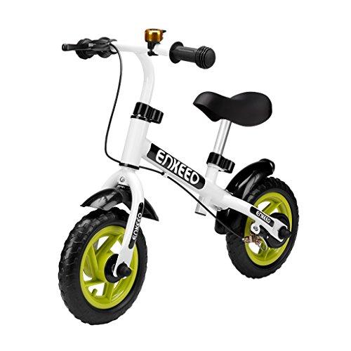 ENKEEO Bicicleta sin Pedales Equilibrio para 2-6 Años (con Timbre y Freno, Altura Ajustable de Manillar y Sillín, Ruedas Robustas, Manejo Facil y Seguro) Blanco