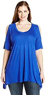 Paper + Tee Women's Plus-Size V-Neck Cold-Shoulder Uneven Hem Top