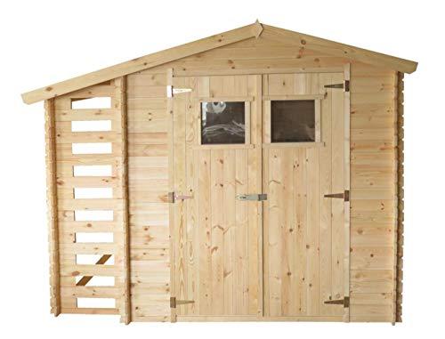 TIMBELA Holzhaus Gartenhaus mit Brennholzschuppen M386+M386G - Gartenschuppen mit Boden Imprägnierte B272xL206xH218 cm/ 3,53 + 0,97 m2 Lagerschuppen für Garten - Fahrrad Schuppen - Wasserfestes Dach