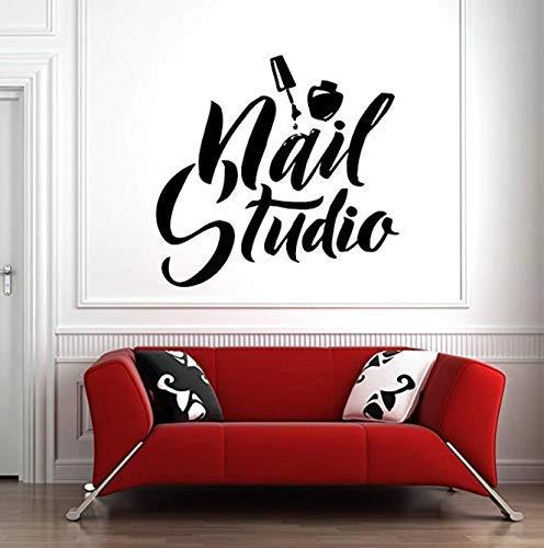 Nagel salon muurraamsticker sticker nagels salon afneembare kunst Poolse manicure pedicure schoonheidssalon behang voor slaapkamer 61 * 57 cm
