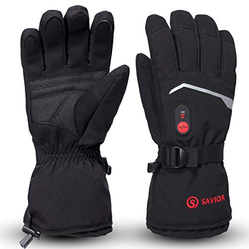 SAVIOR HEAT Heated Gloves, Unisex Rechargeable Battery Powered Electric Heating Glove for Winter Outdoor Working Snow Ski Snowboarding Hunting Snowmobiling Motorcycle Riding (Black S66B, Medium)