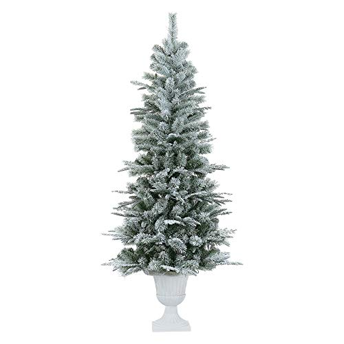 LordofXMAS Slim Artificial Christmas Tree, Potted 6.5' Realistic Pine with 336 Branch Tips 150 LED Warm Clear Lights, Flocked White on Green