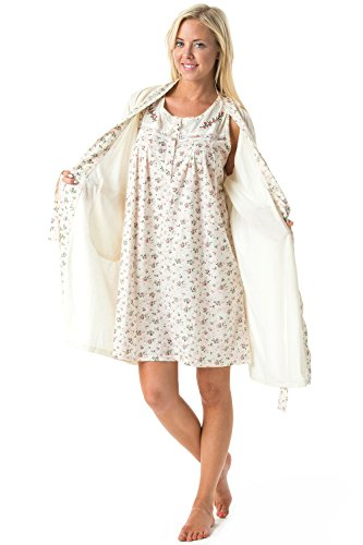 Casual Nights Women's Sleepwear 2 Piece Nightgown and Robe Set - Off White - Large