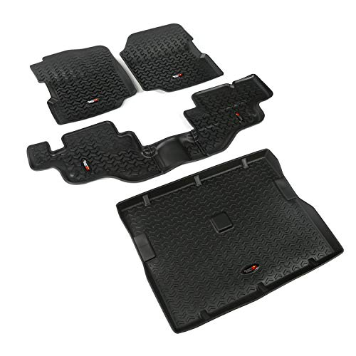 Rugged Ridge 12988.09, All Terrain Floor Liner Kit, Front/Rear/Cargo, Black, 1976-1995 Jeep Wrangler / CJ