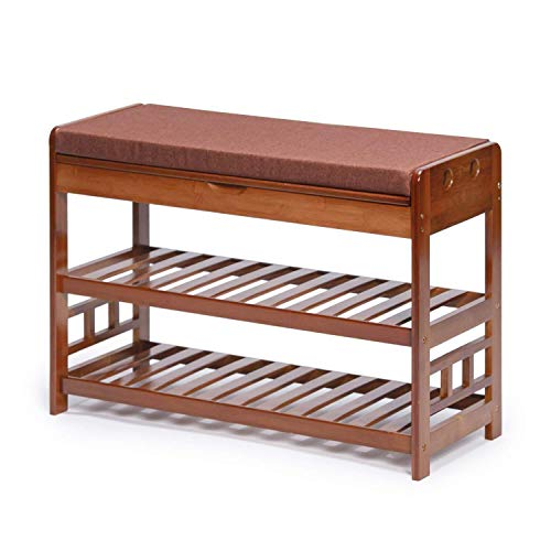 GUOCAO Zapatero de madera con 3 niveles para pasillo y zapatero con cojín de asiento (marrón)