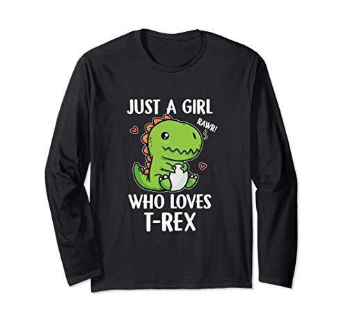 Just A Girl Who Loves T-Rex Costume Da Dinosauro T-Rex Maglia a Manica