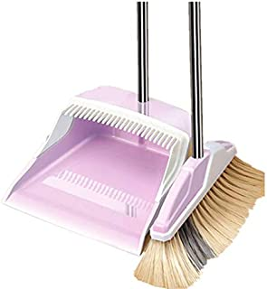 ほうきちりとりセット ほうき ちりとり 立て式掃除セット 掃除道具 留め具調節可能ほうき 回転式ほうき 収納便利 組み立て簡単 室内 屋外 最新版掃除セット (パープル)