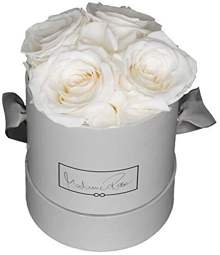 MadameRose Rosenbox rund mit 4 konservierten weißen Rosen in Grauer Hutschachtel als Geschenk und Deko, Größe M