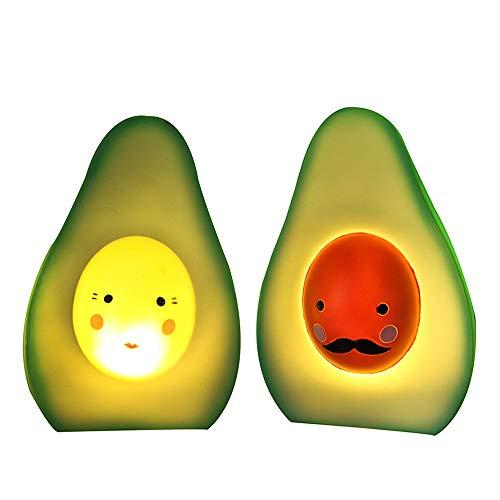 Nachtlicht Mini LED 2 Lampen Set Avocado für Kinderzimmer, Einschlaflicht, Tischlampe, 13 x 8 x 5 cm