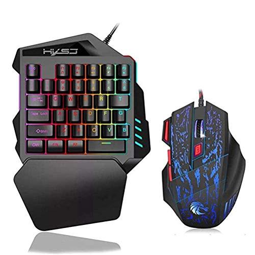 AMITD eenhandig toetsenbord. Draagbare mini-35 toetsen Mechanical Gaming Keyboard Muis/Thron. Met RGB-LED-achtergrondverlichting voor LOL/PUBG/Wow/Dota/OW/Fps spel. F.