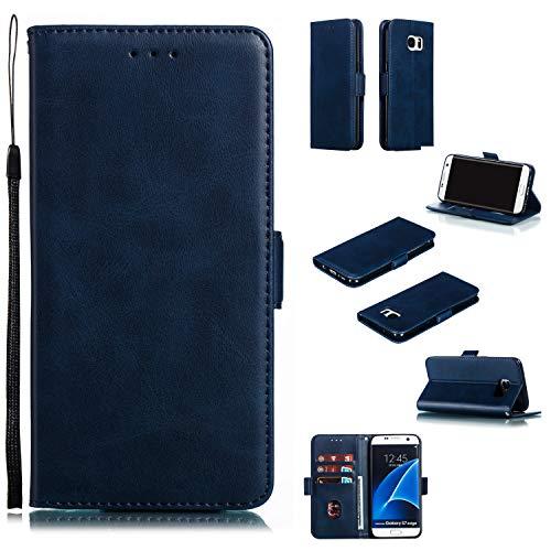 Docrax Galaxy S7 Edge Handyhülle, Hülle Leder Case mit Standfunktion Magnetverschluss Flipcase Klapphülle kompatibel mit Samsung Galaxy S7Edge/G935F - DOYTE010289 Blau