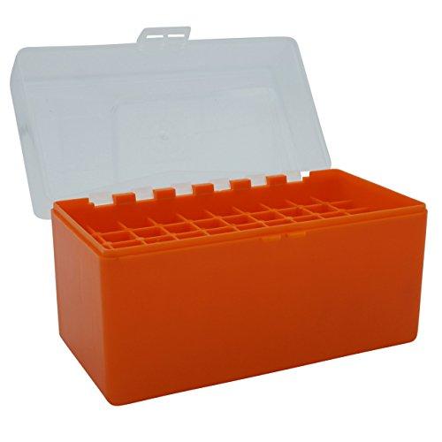 Waffenpflegewelt WPW Patronenbox aus robustem Kunstoff mit Klappdeckel für Kaliber 30.06 Springfield, Kaliber 6,5 x 55 Swedish, Kaliber 8 x 57 is - 50 Patronen – orange