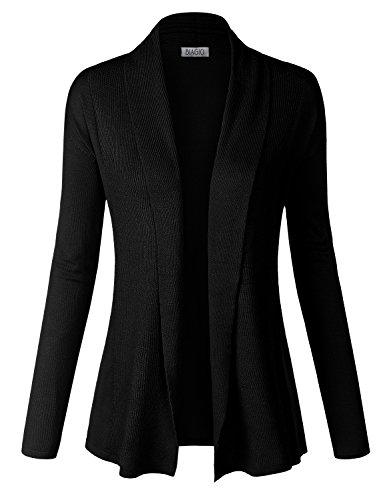 BIADANI Women Classic Soft Ribbed Long Sleeve Open Front Cardigan Sweater Black Medium
