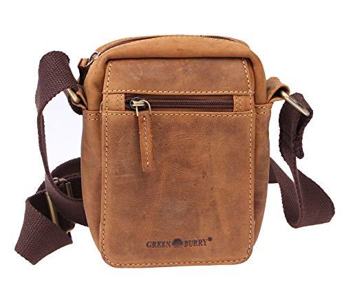 Greenburry schoudertas leer bruin XS herentas lederen tas antiek bruin 15x19cm voor dames en heren