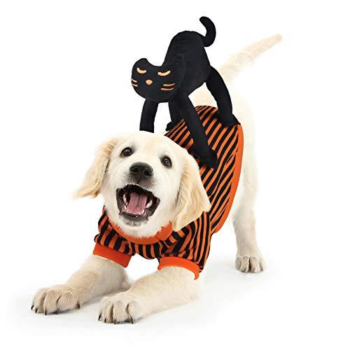 Abrigo Perro Navidad,Idepet Disfraz de Perro con Diseño de Gato Negro Disfraces Perros para Christmas Fiesta de Halloween Naranja Negro