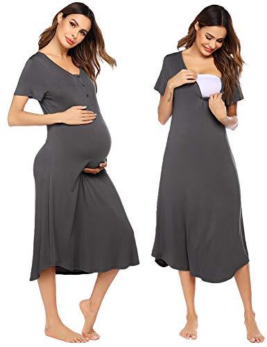 Ekouaer Maternity Short Sleeve Nursing Breastfeeding Nightgown Breastfeeding Long Sleepshirt (Dark Grey L)