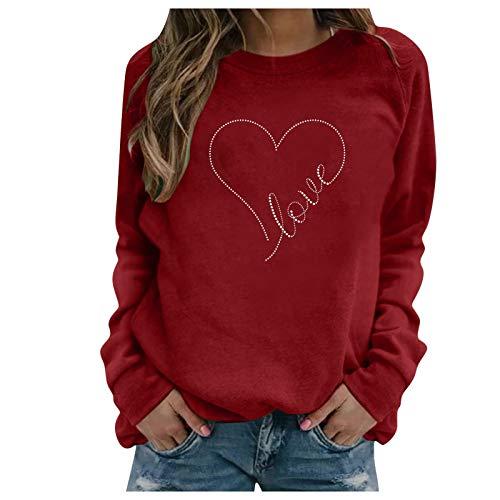 Xmiral Sweatshirt Damen Langarm Love/Herz Gedruckt Rundhals Bluse Oberteile Valentinstag Pullover(d-Rot,XL)