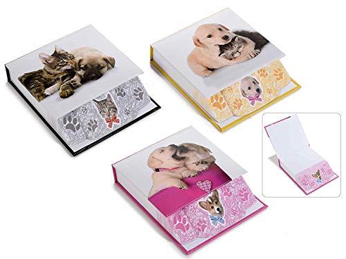 Ideapiu 6 Cubo Bloc Notes c/Stampa Cane/Gatto e Copertina Rigida