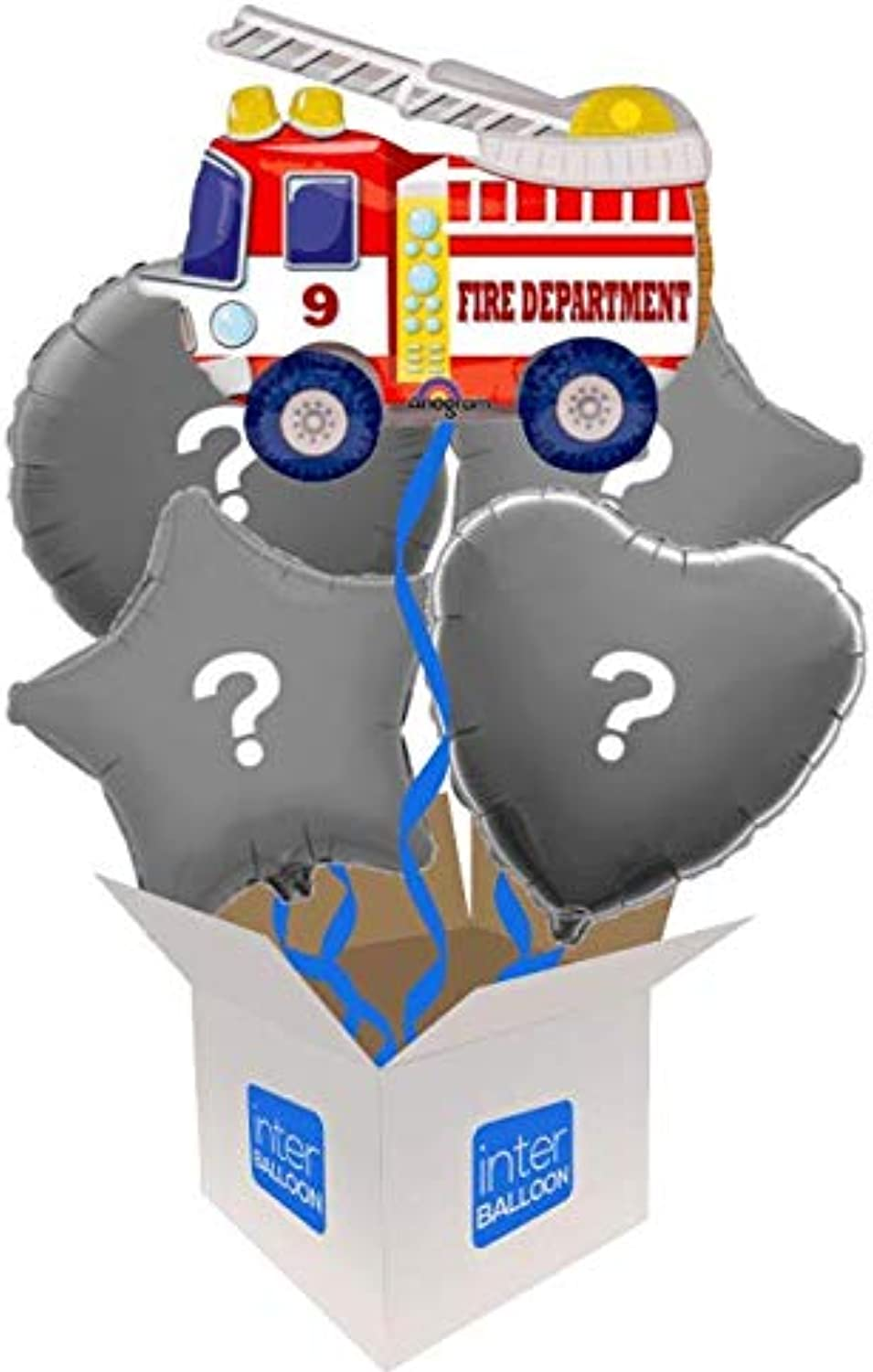 InterBalloon Helium Inflated 24  Fire Truck (Air walker) Balloon Delivered in a Box with 4 Extra Balloons of your choice