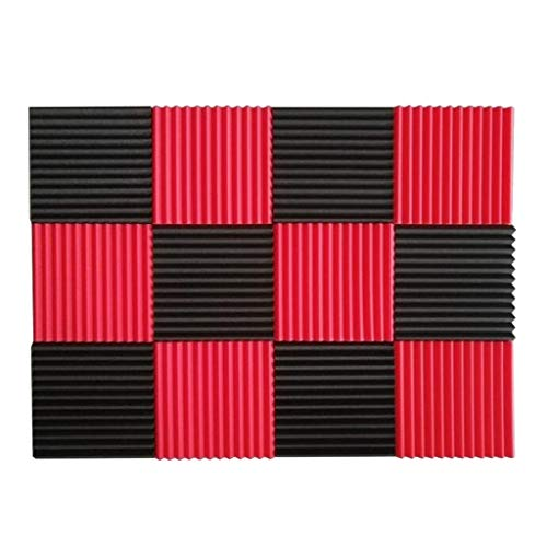 Driehoekige Groove akoestische panelen, Color Recording Studio Noise Reduction vlamvertragend Geluidsabsorberende katoen, 12st (Color : A)